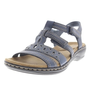 Clarks Womens Leisa Lucia Leather Laser Cut T-Strap Sandals - 7 medium (b,m)