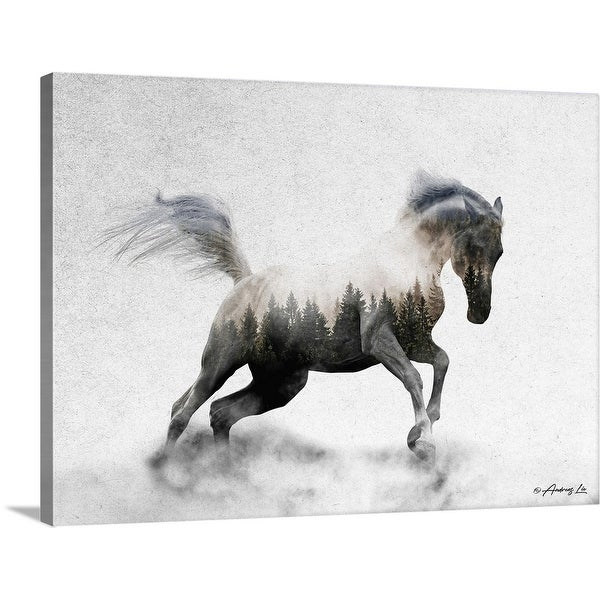 """Running White Stallion"" Canvas Wall Art"