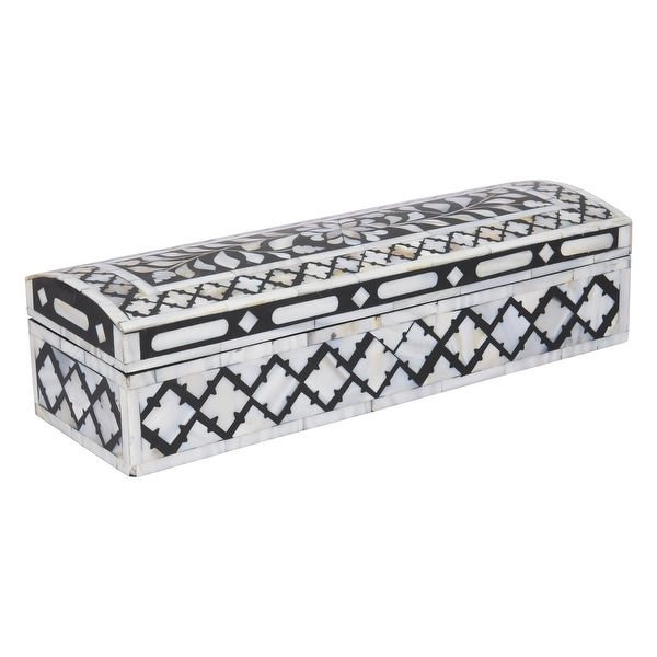 "GAURI KOHLI Jodhpur Mother of Pearl Inlay Decorative Box in Midnight Black - 12"" X 4"" X 3"". Opens flyout."