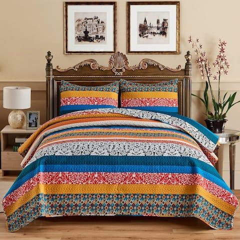 3 Piece Boho Bedspread Vintage Plaid Floral Patchwork Coverlet
