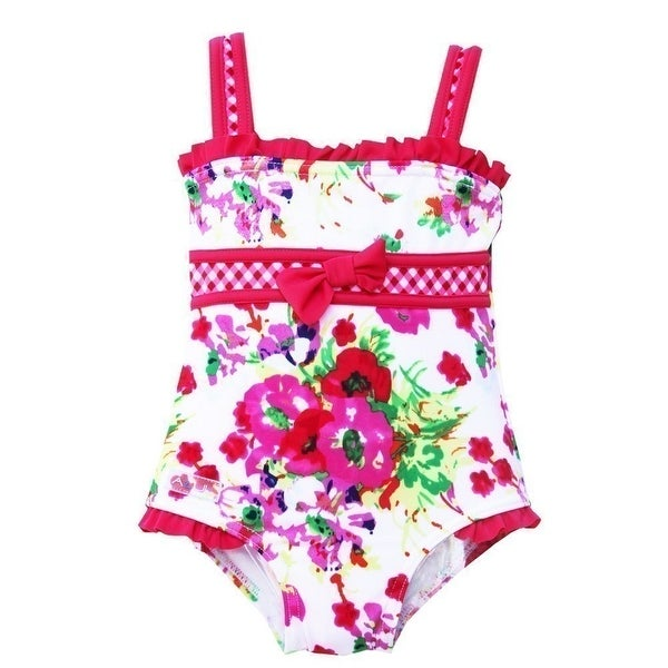 Azul Baby Girls Think Pink Floral Checker Print One Piece Swimsuit