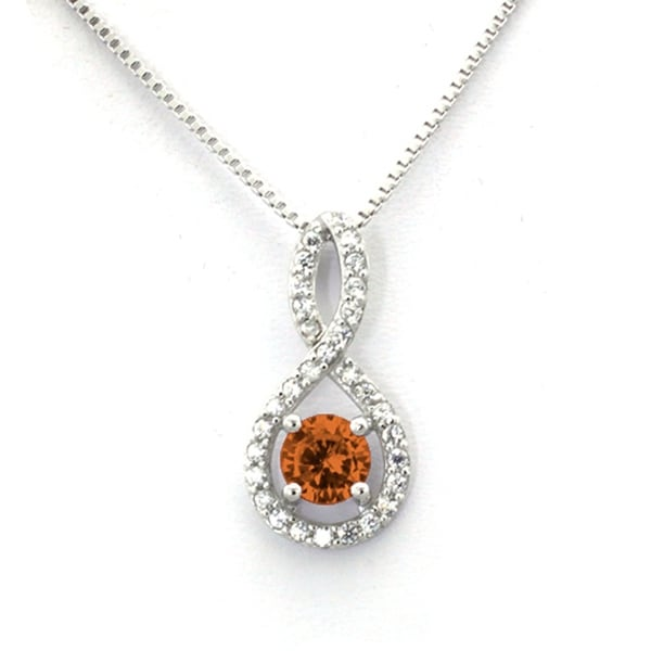 Sterling Silver Figure 8 Topaz CZ Color Center (November Birth) Stone Pendant - 18 inches
