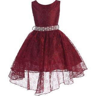 High Low Floral Lace Easter Pageant Flower Girl Dress Burgundy JK3744