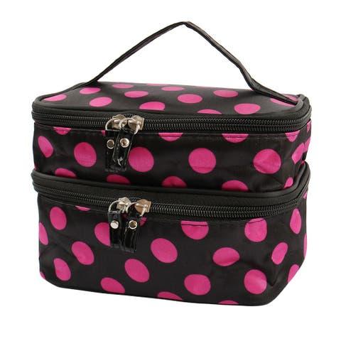 Zipped Cosmetic Bag Double Layer Make Up Case Handbag Pouch - Black,Fuchsia