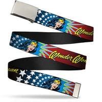 Blank Chrome Buckle Wonder Woman Face W Stars Webbing Web Belt