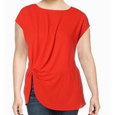 Vince Camuto Women's Blouse Lipstick Red Size 2X Plus Knit Gathered