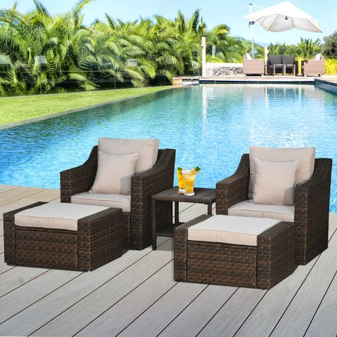 Outsunny 5-Piece PE Rattan Outdoor Patio Armchair Set with 2 Chairs, 2 Ottomans, Coffee Table, & Durable Build, Beige