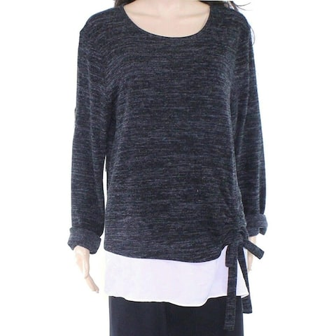 INC Women's Sweater Charcoal Gray Size 1X Plus Ruched Side Twofer