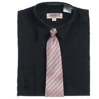 Black Button Up Dress Shirt Pink Gray Stripe Tie Set Toddler Boys 2T-4T