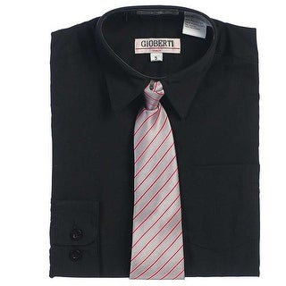 Black Button Up Dress Shirt Pink Gray Stripe Tie Set Toddler Boys 2T-4T