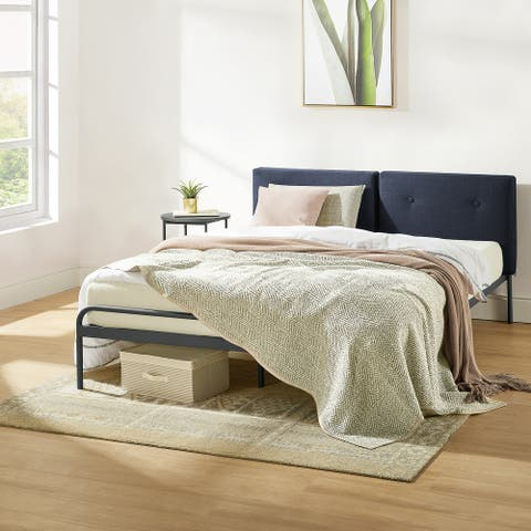MAGGIE Metal Platform Bed with Upholstered Cushion Headboard, Steel Slats, Easy Assembly in Navy
