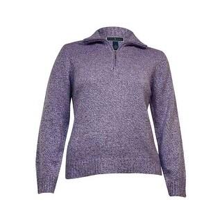 Karen Scott Women's Rib Trim Zip Neck Sweater
