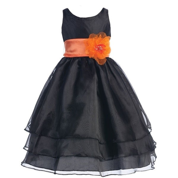 Shop little girls black orange floral sash flower girl dress 2t 6 little girls black orange floral sash flower girl dress 2t 6 mightylinksfo