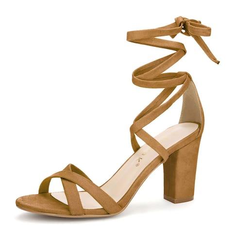 Women Open Toe Lace-Up High Block Heeled Sandals