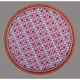 """Handmade 100% Cotton Floral Tablecloth 90"""" Round Red Pink"""