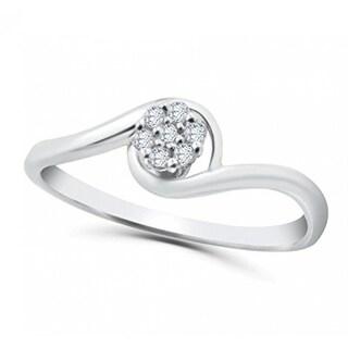 Ladies Genuine Diamond Engagement ring 0.10ctw Round diamond cluster - White I-J