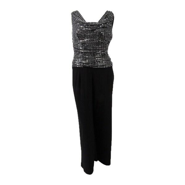 Shop Rm Richards Womens Knit Jumpsuit 8 Silverblack Silver