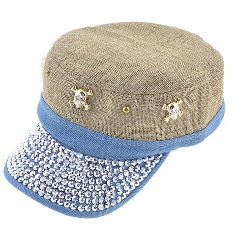 Rhinestude Decoration Hook Loop Fastener Khaki Blue Summer Visor Hat for Lady Man