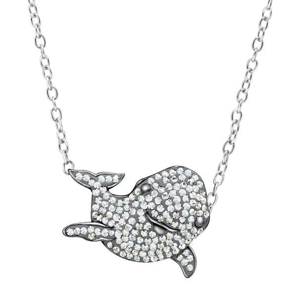 Animal Planet Yangtze Finless Porpoise Pendant with Swarovski Elements Crystals in Sterling Silver - White