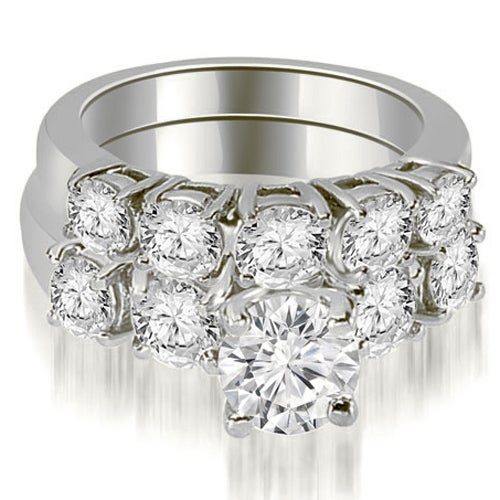 1.65 cttw. 14K White Gold Prong Set Round Cut Diamond Bridal Set