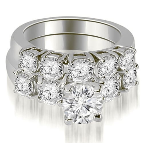 1.90 cttw. 14K White Gold Prong Set Round Cut Diamond Bridal Set