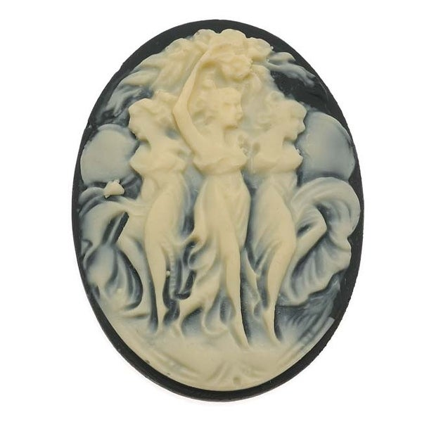 Vintage Style Lucite Oval Cameo Black With Three Dancers 40x30mm (1)