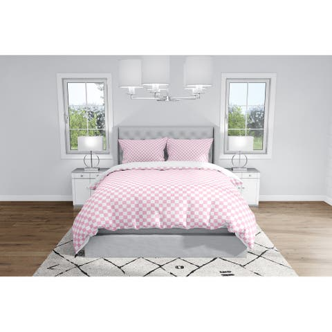 CHECKER BOARD PINK Duvet Cover By Kavka Designs