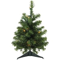 "18"" Pre-Lit LED Canadian Pine Artificial Christmas Tree - Clear Lights - green"