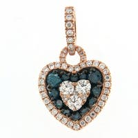 Prism Jewel 0.77Ct Blue Color Diamond & Side Diamond Valentine Heart Shaped Pendant, 10k Rose Gold