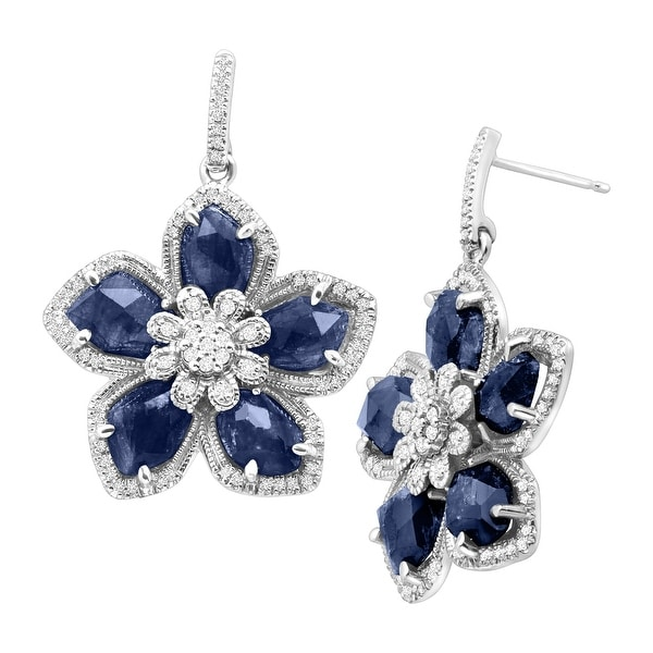 11 ct Natural Sapphire & 1/2 ct Diamond Flower Earrings in Sterling Silver - Blue