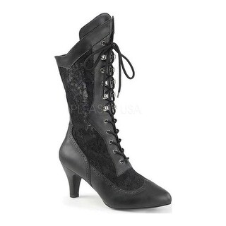 Pleaser Pink Label Women's Divine 1050 Lace-Up Boot Black Faux Leather-Satin Lace
