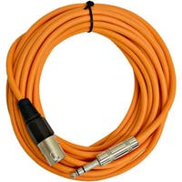 """SEISMIC AUDIO - 25 Foot Orange XLR Male to 1/4"""" TRS Patch Cable Snake Cords -"""