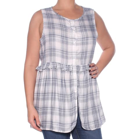 MAX STUDIO Womens Navy Ruffled Plaid Sleeveless Scoop Neck Button Up Top Size: L