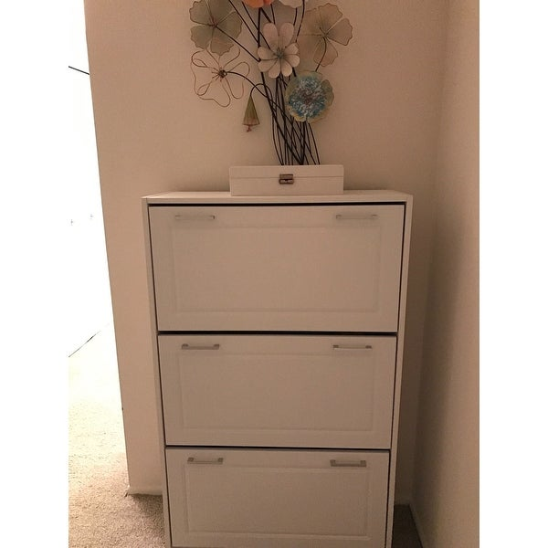 Shop Deluxe White Triple Shoe Cabinet   Free Shipping Today   Overstock.com    11662725