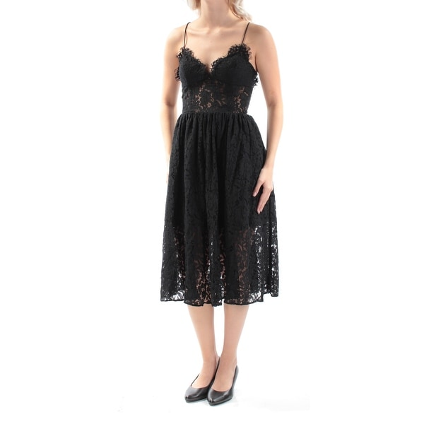 Shop Fame And Partners Womens Black Lace Spaghetti Strap Sweetheart