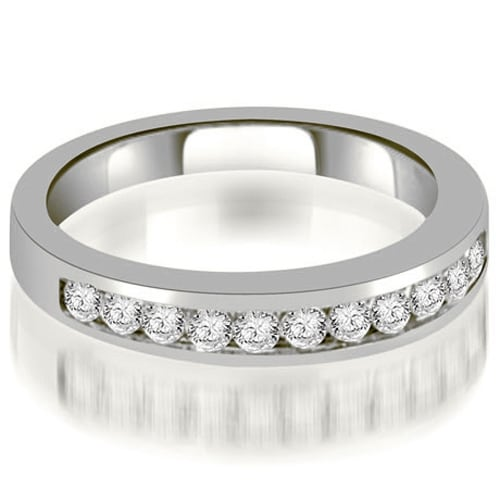 0.35 cttw. 14K White Gold Channel Set Round Cut Diamond Wedding Band