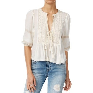 Free People Womens The Wild Life Peasant Top Gauze Studded