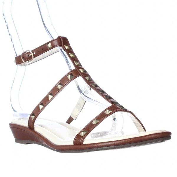 Seven Dials Candle Studded T-Strap Gladiator Sandals, Luggage - 5.5 us