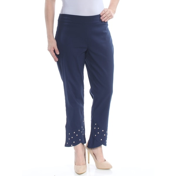 b97fd7a95e652b Shop JM COLLECTION Womens Navy Rhinestone Flare Pants Size: XL - Free  Shipping On Orders Over $45 - Overstock - 28258613