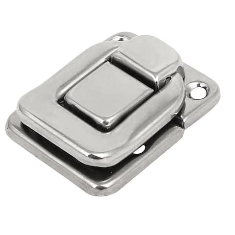 Toolbox Jewelry Box Case Rectangle Shape Latch Hasp Lock Silver Tone 38x29x8mm