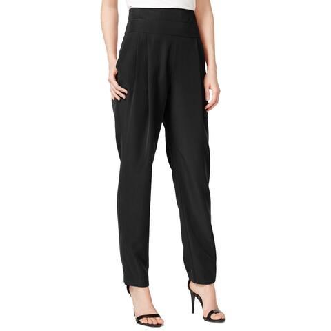 RACHEL Rachel Roy Womens Twill Pleated Tuxedo Pant Black 2
