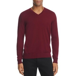 Burberry Men's Randolf Burgundy Cashmere V-neck Sweater
