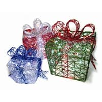 """Set of 3 LED Lighted Multi-Color Glitter Present Gifts Yard Art Silhouette Decorations 12"""", 10"""", 8"""" - multi"""