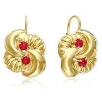 Mcs Jewelry Inc  10 KARAT YELLOW GOLD STUD EARRINGS WITH FLOWER DESIGN AND RED STONE