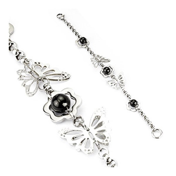 Stainless Steel Round Chain Link Bracelet with Flower, Black Steel Beads and 3D Butterflies (5 mm) - 8.25 in