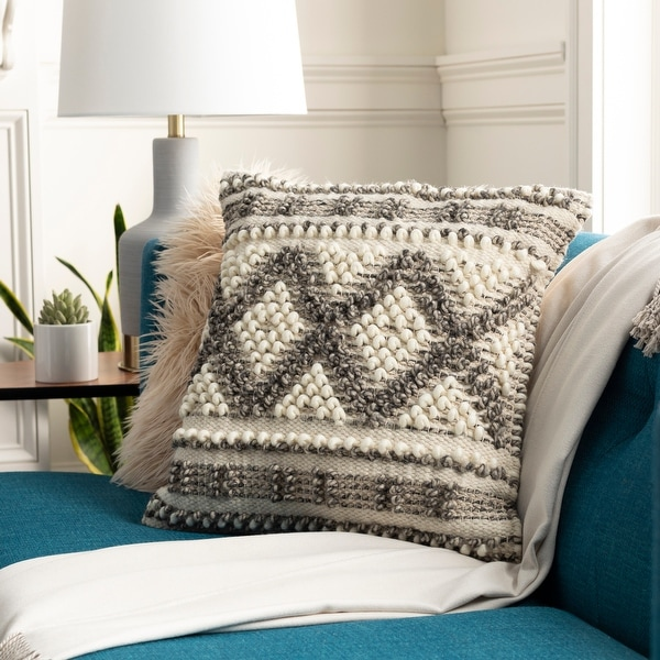 The Curated Nomad Taber Boho Patterned Wool 18-inch Throw Pillow Cover. Opens flyout.