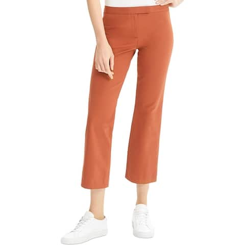 Theory Womens Cropped Pants Flare Stretch - Cognac