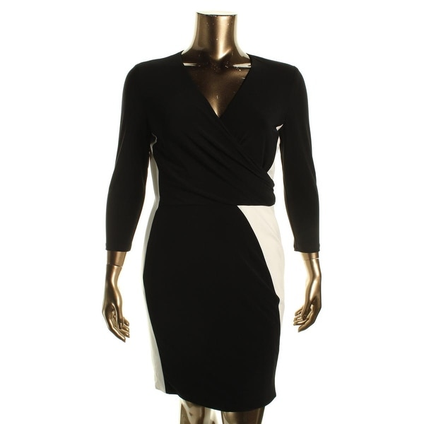 Lauren Ralph Lauren Womens Jayma Wear to Work Dress Faux Wrap Colorblock