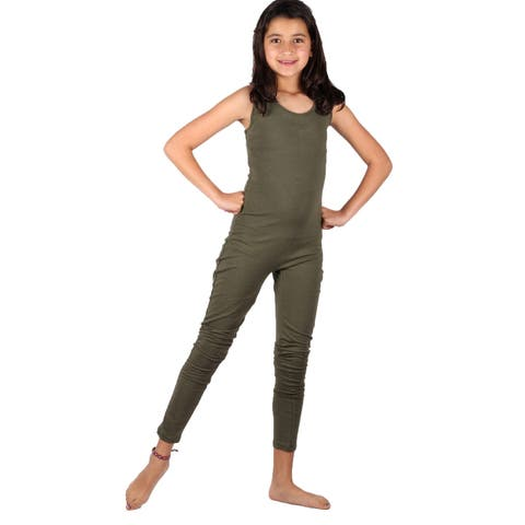 Lori & Jane Girls Olive Green Long Leg Sleeveless Casual Jumpsuit