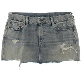 Denim & Supply Ralph Lauren Womens Vintage Mini Destroyed Faded Denim Skirt - 31